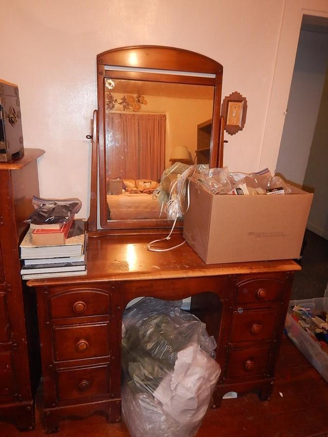 Vintage Wood Vanity With Mirror My Auction Addiction Inc